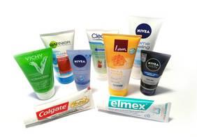 Auswahl von Produkten mit Mikroplastik